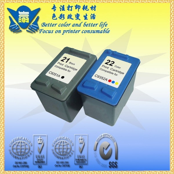 JIANYINGCHEN Remanufactured ink cartridge replacement for  21xl 22xl C9351A C9352A for DeskJet 3910 3930 3940(2pcs/lot)