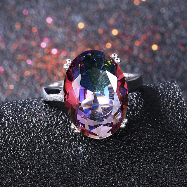 MOONROCY Crystal Rings Blue Purple Red Colourful Crystal Party Ring Silver Color Oval Jewelry Wholesale for Women Dropshipping