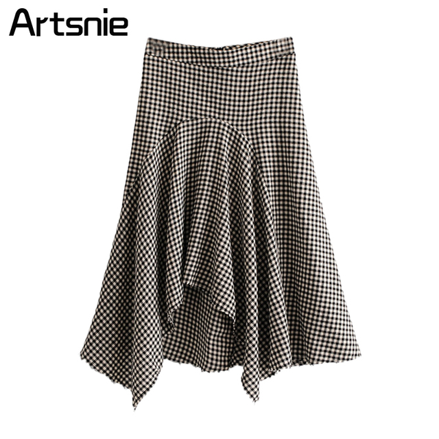 Artsnie Black Plaid Asymmetrical Maxi Long Skirts Women Spring Elegant High Waist Pleated Ladies OL Casual Skirts Jupe Femme