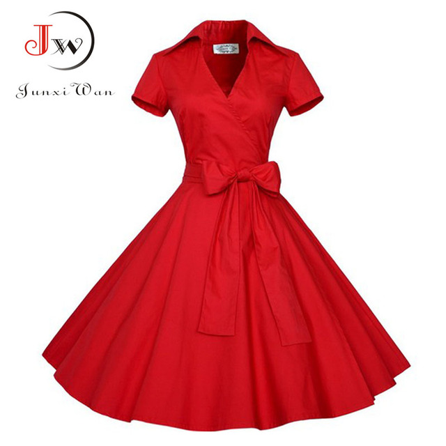 Red Black Summer Dress  Audrey Hepburn Women Polka Dot Vintage Swing Robe Rockabilly Retro 50s Pinup Dresses vestidos mujer