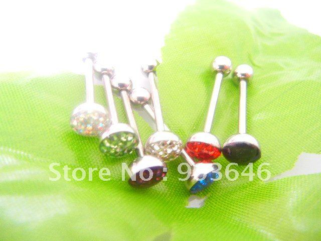 Free shippment LOT50pcs Body Piercing Jewelry -Crystal Tongue/Nipple Bar Barbells Ring Bar Smoothly Design 1.6x16x5/7mm