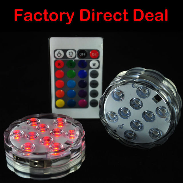 100Pcs* Submersible led lights Multicolor remote controller submersible led lights under vase base for holiday party decoration