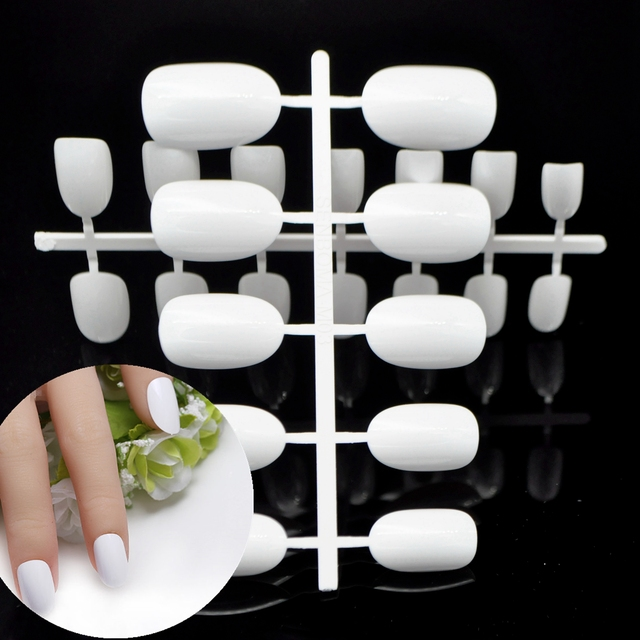 White Fake Nails Fashion Acrylic Nails Tips Round Top Nail Design DIY Salon Product 24Pcs WX