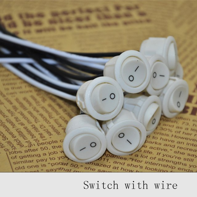24pcs 6A Push Button Lamp Switches UL Key Switch Wire ON/OFF Switch Lighting DIY Bedside Lamps Wall Power Switch free shipping
