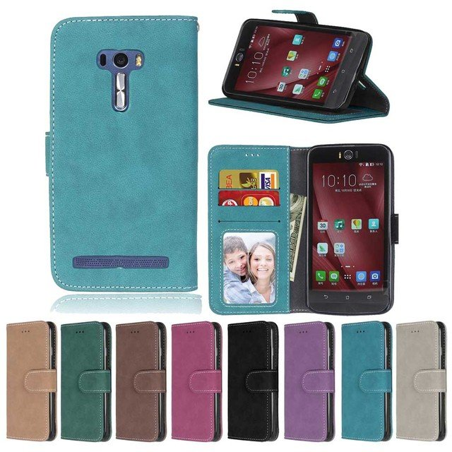 Case For Asus Zenfone 2 laser ZE550KL ZE500KL ZE601KL Flip Card Slot stand holder Case leather Frosted phone Cover kimTHmall