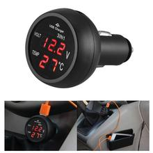 VODOOL 3 in 1 12/24V Car Auto LED Digital Voltmeter Gauge Thermometer Monitor Display USB Charging Charger For Phone Tablet GPS