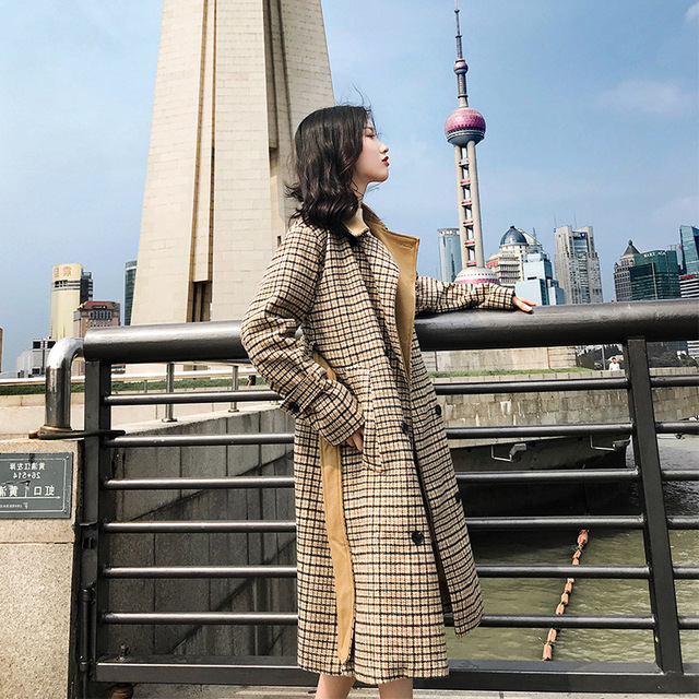 England Style Plaid Women Long Winter Wool Blend Coat Double Breasted Pockets Wool Coat and Jacket Turn-down Collar Outerwear