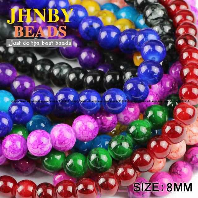JHNBY Flowering glass beads 8MM 100pcs Top quality Loose Beads Round Assorted Colorful beads ball Jewelry Bracelet making DIY