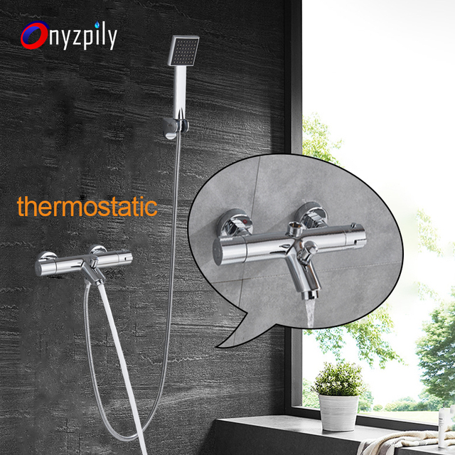Thermostatic Bath Shower Faucets Set Bathroom Mixer Shower Bathtub Tap Rainfall Shower Wall Mixer Tap