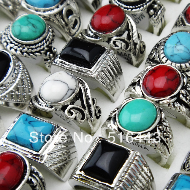 Women Men's Jewelry 10pcs Natural Stones Mix Style Vintage Rings White Black Red Green Blue Wholesale Lots A368