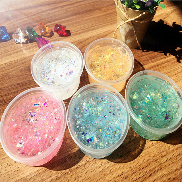 Crystal Mermaid Clear Glitter Slime Fluffy Floam Plasticine Mud Colorful Gifts Kids Anti Stress DIY Creative Activity Toys