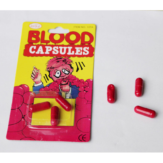 1Pc Funny Blood Pill Trick Toys Whimsy Prop Vomiting Blood Capsule April Fool's Day Joke Toys for Kids Children