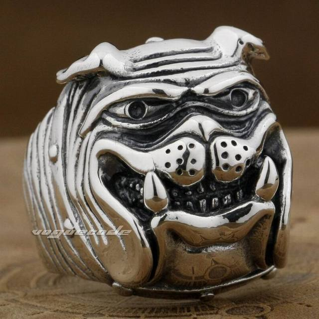 Huge Heavy 925 Sterling Silver Cute Bulldog Ring Mens Biker Punk Ring 8E011 US Size 7 to 15
