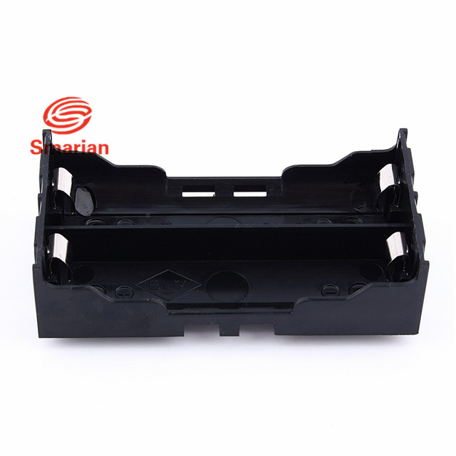 2PCS Plastic DIY 18650 Lithium Battery Box Two Sections In Parallel For 2 x 18650 Box Holder Black With Wire Lead