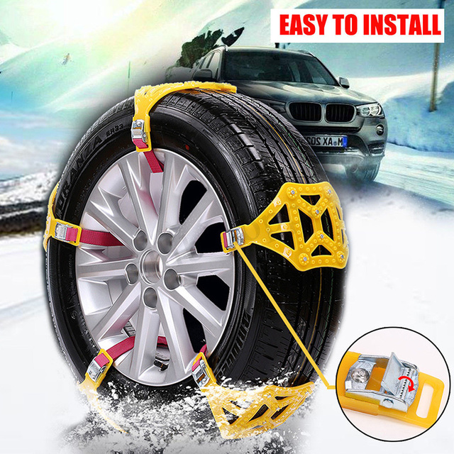 TPU Yellow Snow Chain Easy Installation Climbing Mud Ground Anti-Skid Chains Snow Tire Belt Durable Accessories Emergency
