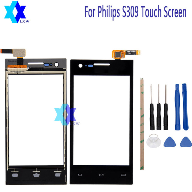 For Philips S309 Touch Screen Original Guarantee Original New Glass Panel Touch Screen 4.0 inch Tools+Adhesive Stock