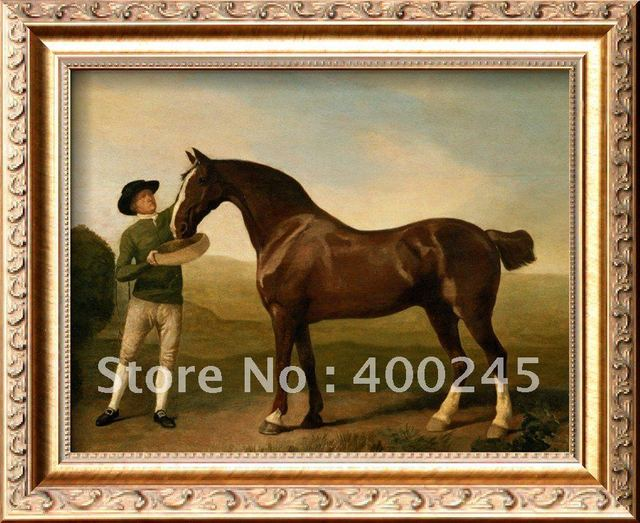 Groom Feeding a Bay Hunter in a Landscape by George Stubbs painting reproduction high quality Hand painted