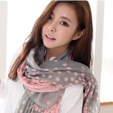 Anne Hot Sale Spring Summer Autumn Winter Fashion New Gradient Dots Printed Volie Scarves Women Rayon  Shawl Free Shipping