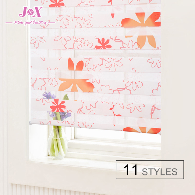 2016 New Arrival Flower Pattern Thick Roller Shutter Double Layer Shade Blinds Custom Made 11 Styles Hight Quality Free Shipping