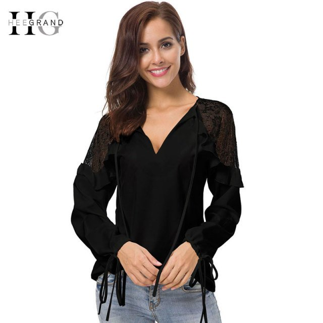 HEE GRAND Women Sexy Lace Patchwork Shirts 2018 Lantern Long Sleeve Summer Blouses for Women Loose White Ruffles Tops  WCL1622