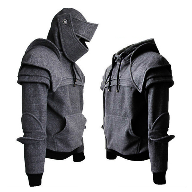 Pulling Rope Mask Knight Hoodies 2018 Autumn Winter Warm Solid Color Pullover Long Sleeve Hoodies Hallowmas Cosplay Clothing