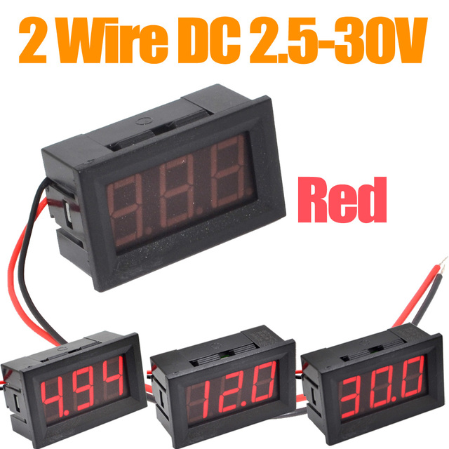 10pcs/lot Mini DC2.5-30V  Red Digital Voltmeter Volt Panel Meter +free shipping-10000302