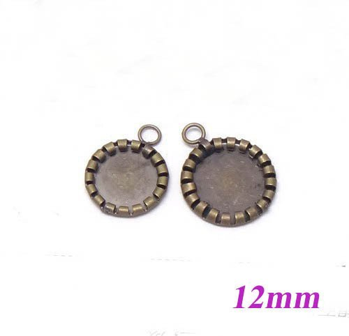 12mm Antique Bronze Plated Copper Circle Tray Bases Blank Pendant Bezel Cup Charm Settings DIY CABs Cabochons Bulk Wholesale