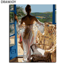 DRAWJOY New Frameless Home Decor Pictures DIY Painting By Numbers Digital Oil Painting On Canvas Beauty Lady Wall Art GX7964