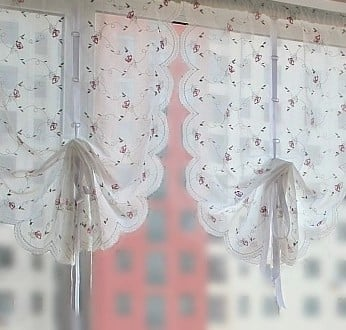 embroidery rose balloon curtain for the door and kitchen white kitchen curtain Pull-up curtain