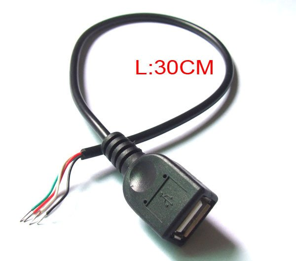 30CM 2.0 USB EXTENSION CABLE USB female socket Cable Soldering