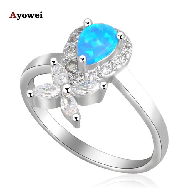 Wonderful style design Blue fire Opal  silver color Zirconia Rings fashion jewelry USA size #7.5 #6.75 #7.75 OR453A