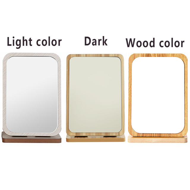 Makeup Mirror Large Vanity Beauty Makeup Wooden folding Dektop 180 Degrees Rotation Adjustable Cosmetic