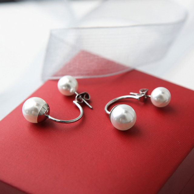Hot sale Silver Plated Double Side Earing Fashion Jewelry Crystal Ball Stud Earrings Simulated Pearl Earrings for Women jn522