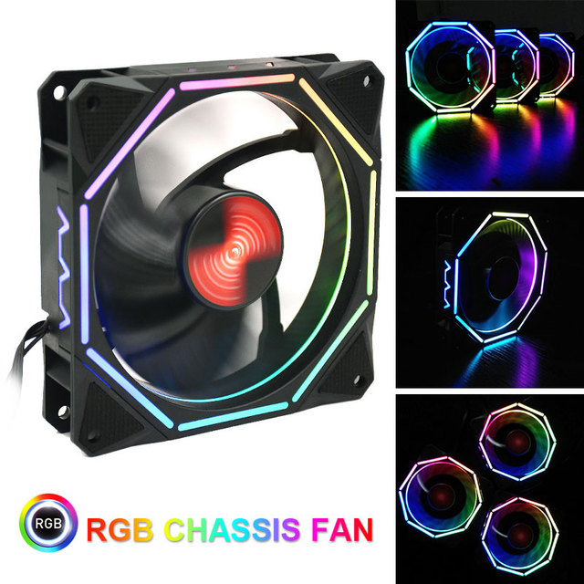 Quiet Computer Case Fan Stand Multicolored Lights RGB Cooling Fan Game Player Colorful CPU Computer Fan Radiator