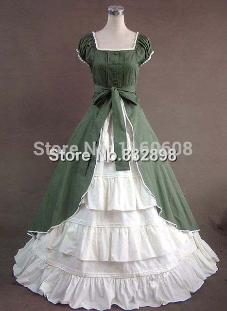 Green Colonial Dress Ball Gown Theater Reenactment Gothic Victorian Dress