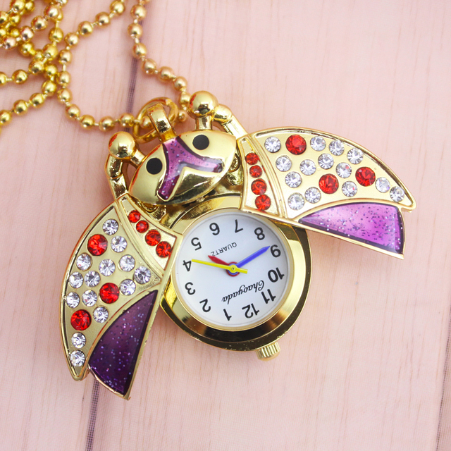 2018 cyd Children girls lovely ladybug clamshell diamond quartz pocket watch ladies luxury necklace pendant portable fob watch