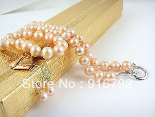 Wholesale free shipping >>>>>8-9 MM pink freshwater cultured pearl necklace earring set AA