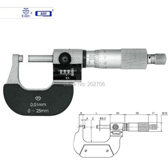 Qinghai xibei brand 0-25mm* 0.01mm micrometer with counter  Digital Micrometer top quality