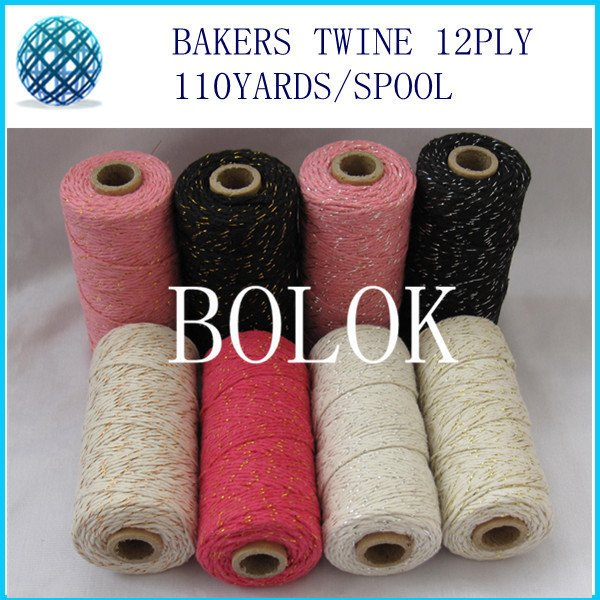 50pcs/lot add all kinds metallic Cotton Baker twine for gift packing (11 kinds color),gold twine, metal spool