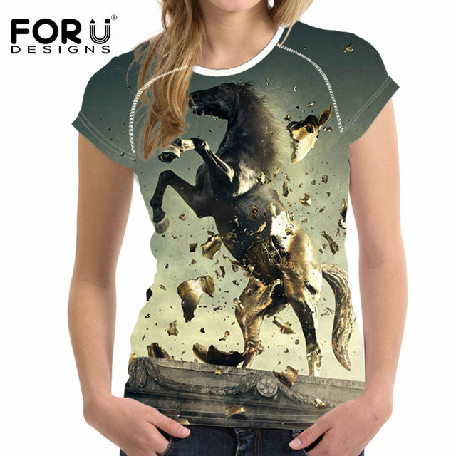 FORUDESIGNS 3D Cool Horse Women T Shirt Summer Woman Tops Tee Breathable Female Shirts For Girls Short Sleeved Tees T-Shirts