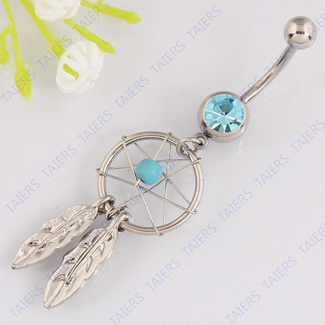 Dream catcher belly button ring Body piercing jewelry Retail navel ring navel bar 14G 316L surgical steel bar Nickel-free