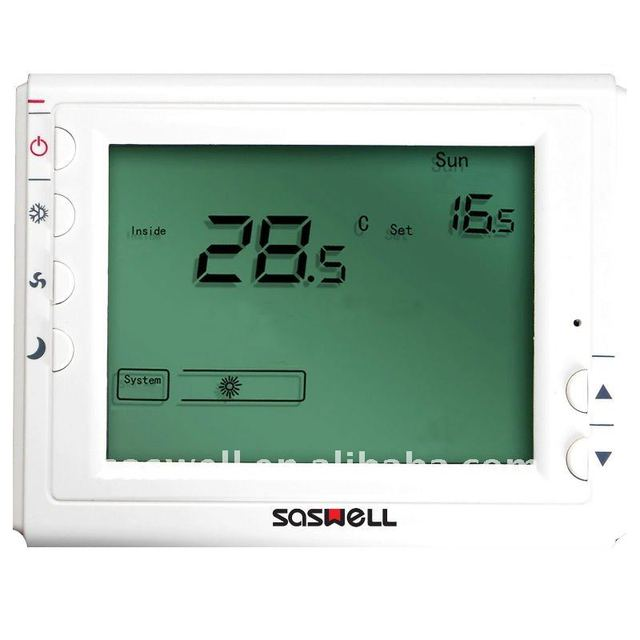 saswell Large LCD display modulating digital thermostat 3-speed fan control