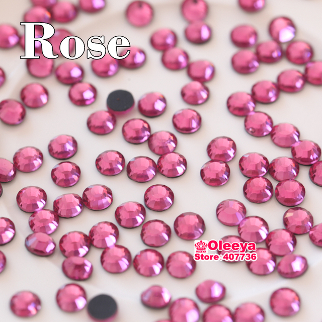 Rose DMC Hotfix Rhinestones for Clothes ss6 ss10 ss16 ss20 ss30 Flatback Iron On Strass HotFix Stones for Transfer Designs Y0136