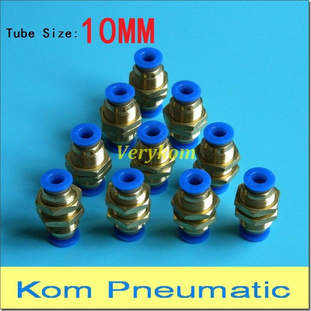 10pcs/lot Pneumatic Bulkhead Straight Union PM 10MM To 10MM Tube Pipe Hose Connector Push in Quick Air Fitting Joiner PM-10