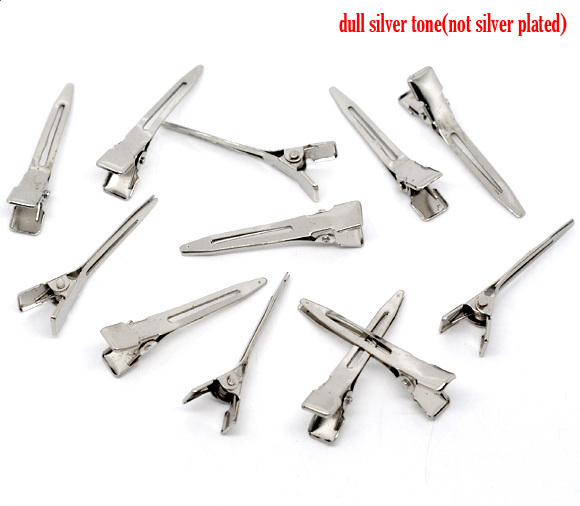 Doreen Box hot-  50 Silver Color Hair Barrette Clips Findings 45x10mm (B10856)