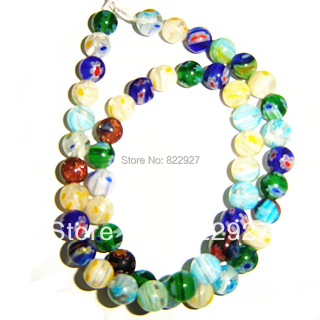 8mm millefiori glass round beads,mix color strand,50 pieces/1 strand,1.0mm hole for jewelry use