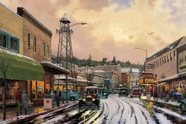 Main Street Matinee Thomas Kinkade HD Canvas Wall Pictures Art Painting Print Living Room Bedroom Home Decoration No Framework