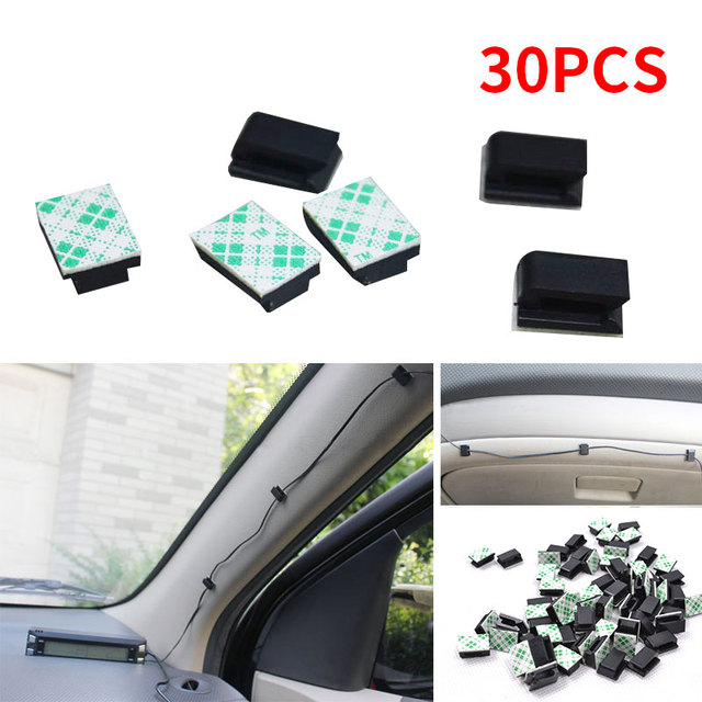 Cable Clip Mount Clamp Fixing Universal GPS Accessories Retainer 30Pcs/Set with Adhesive Black Organizer Fastener