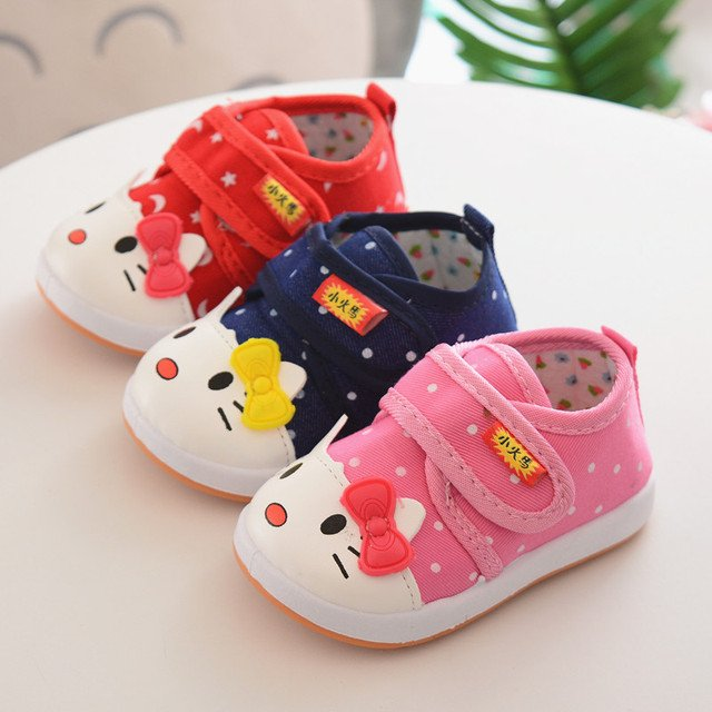 Cute Baby Shoes for Girls Cotton Shoes New Spring Red Cat Baby Girl Sneakers Toddler Boy Newborn Shoes First Walker