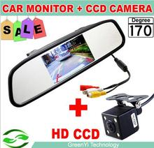 HD Video Auto Parking Monitor, LED Night Vision Reversing CCD Car Rear View Camera With 4.3'' Car Reverse Mirror Monitor(NTSC)